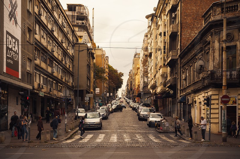 Belgrade Serbia - September 26 2017: One of downtown streets during day afternoon scene. photo