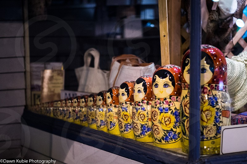Russian nesting dolls in closed storefront window; Milford CT photo