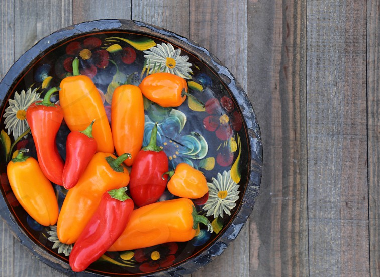 Bowl of Peppers in an old Mexican Bowl photo