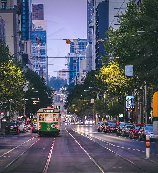 melbourne tram tram lines cbd iconic Melbourne old tram public transport La Trobe Street photo
