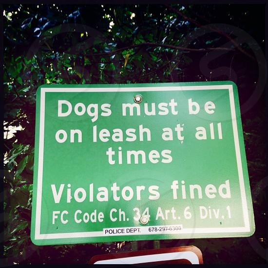 Dog on leash sign photo