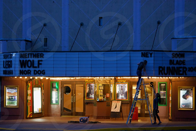 Changing the marquee at Palace Theater in Silverton Oregon photo