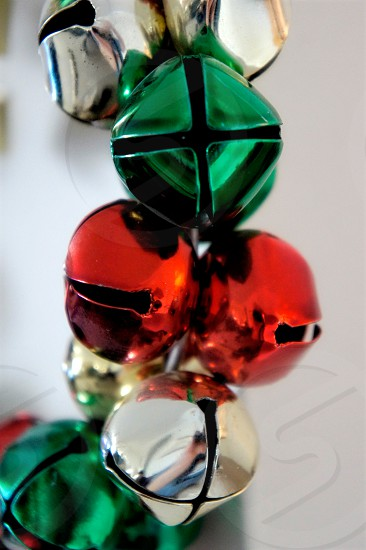 Red green and silver Christmas holiday bells photo