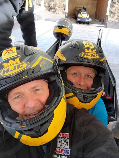 Selfie bobsled lake placid Olympics snow fun photo