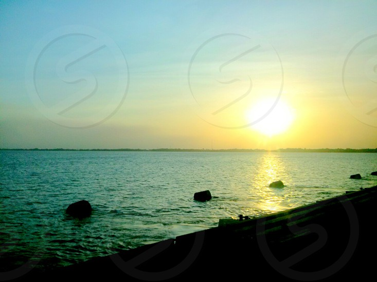 The Demerara River in Guyana at Sunset photo