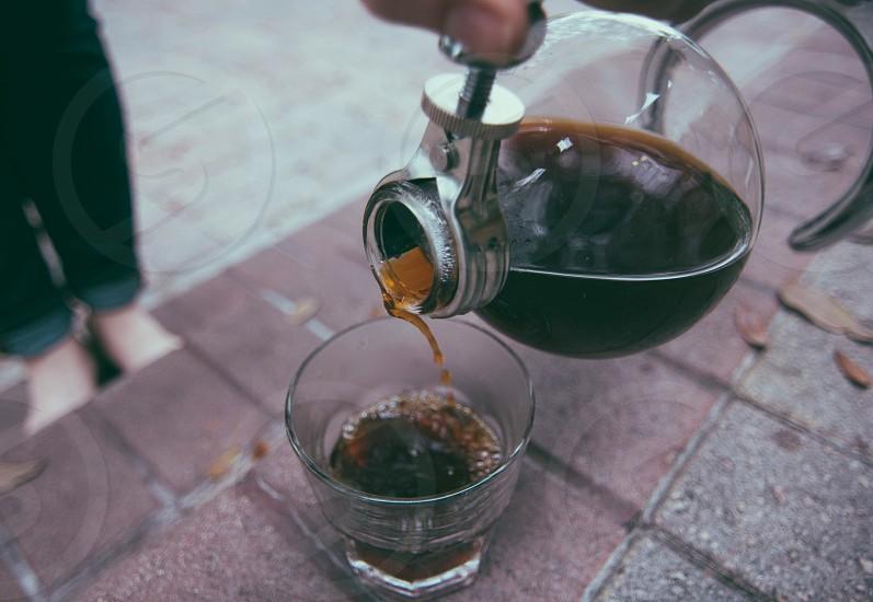 coffee on drinking glass photo