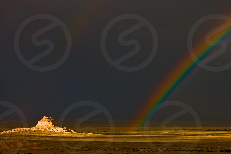 Rainbow over Pawnee Buttes in Pawnee National Grassland in Weld County Colorado. photo