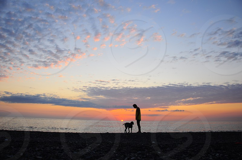 man and dog standing photo