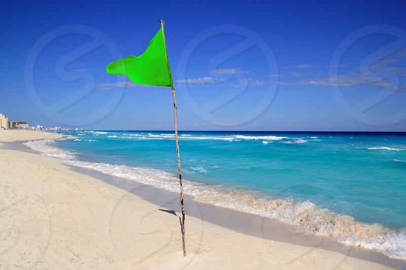 beautiful Green beach flag good beach weather photo