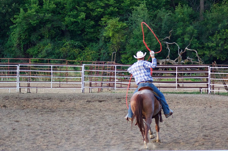 A lrodeo rider practices with a lasso in an empty outdoor corral before competition photo
