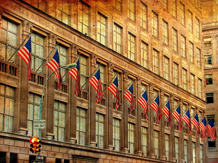 Architecture American Flags New York City  photo