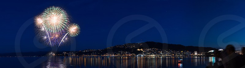 Wellington New Zealand Night Fireworks Harbour Sky Lights photo