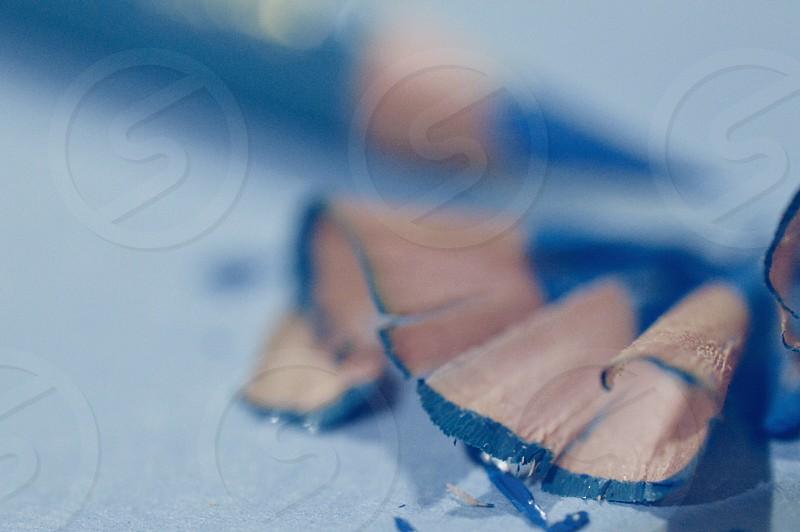 Blue Pencil Shavings macro photo