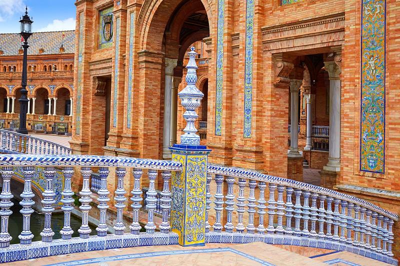 Seville Sevilla Plaza de Espana ceramic balustrade Andalusia Spain square photo