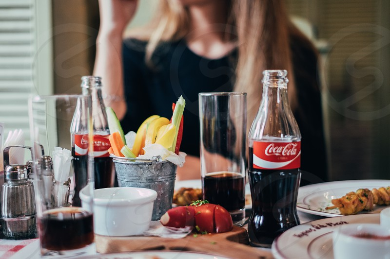 food moment with coca cola photo