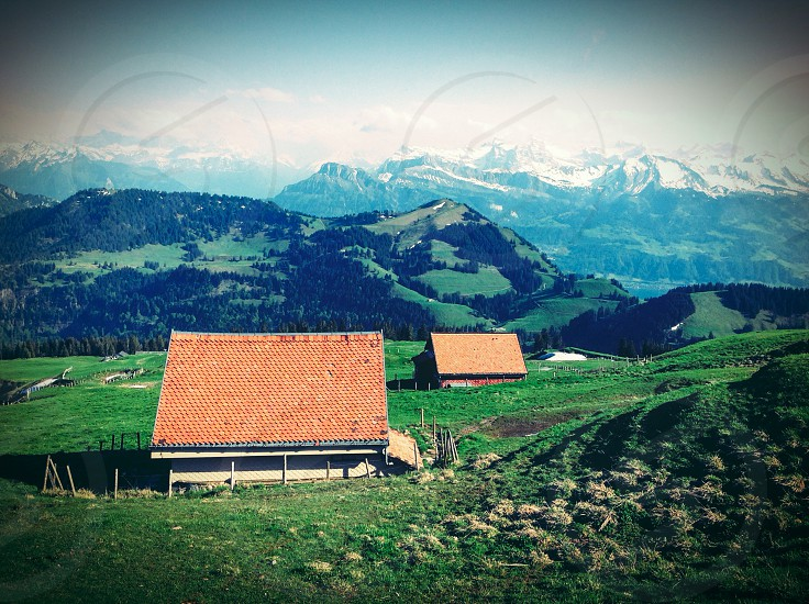 Swiss swidzeland suiza rigi mountains hills nature beauty houses green view from above photo
