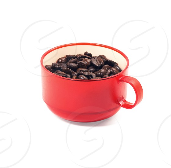red cup of coffee isolated on white background photo