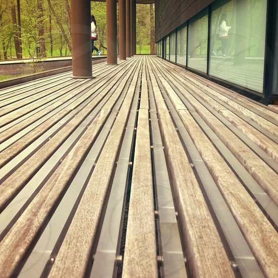 slatted wood porch  photo