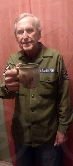 elderly cheers coffee airforce military elderly man uniform alzhemiers photo