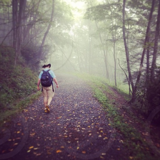 a boy (my brother) hiking in the mountains on a foggy day in North Carolina photo