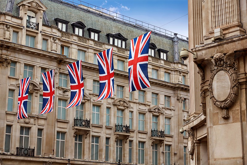 London UK flags in Oxford Street W1 Westminster England photo
