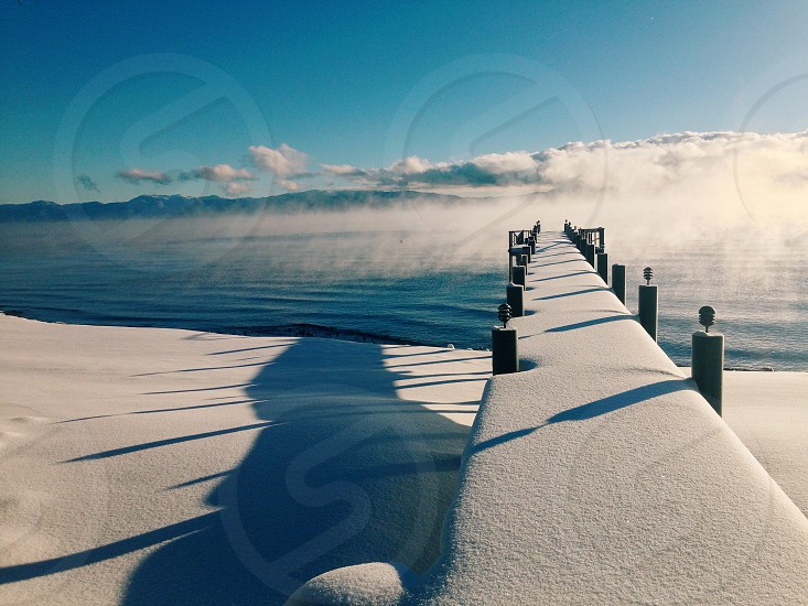 Lake Tahoe pier in the winter photo