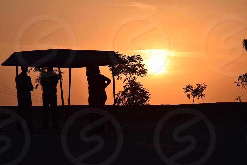 Watching sunset photo
