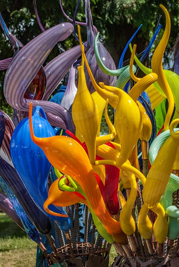 Art glass yard art garden colors yellow concession fair event carnival for sale photo