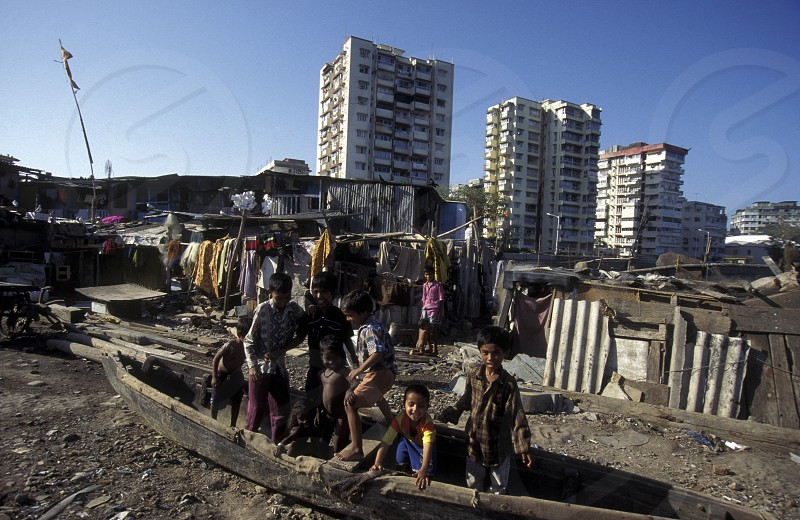 one of the slums in the city of Mumbai or Bombai in India. photo