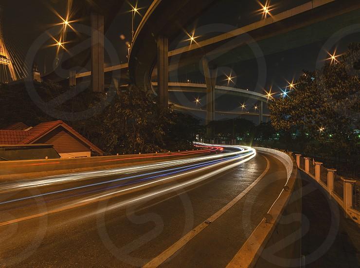 Light night road bridge star tree house photo