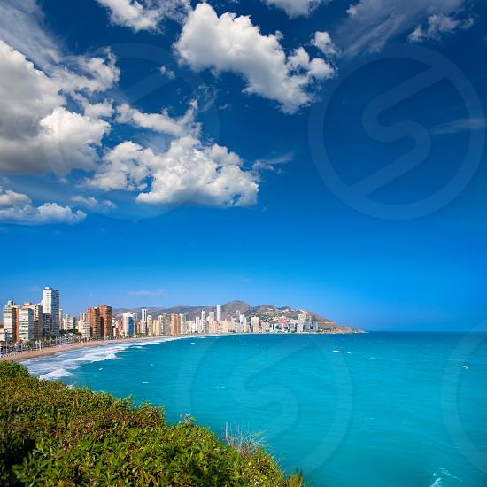 Benidorm Alicante beach buildings and Mediterranean sea of Spain photo