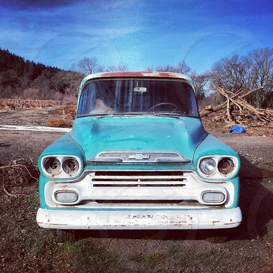 blue chevrolet pick up truck  photo