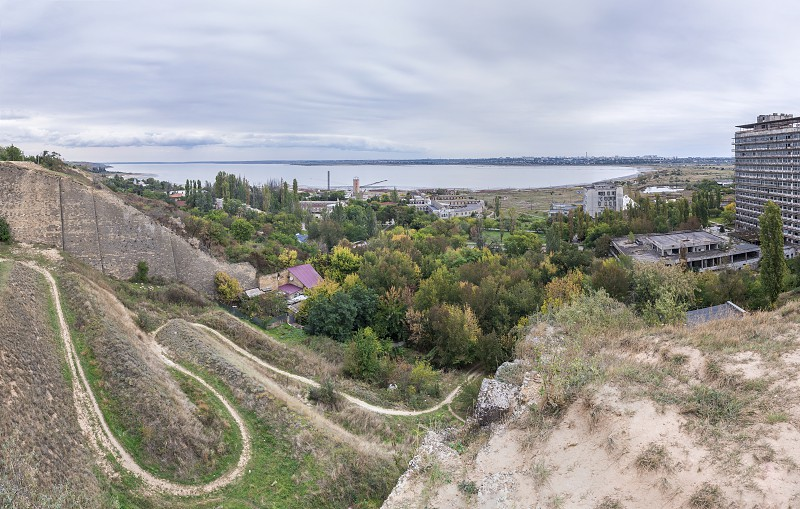 The old wall and the descent to the salt estuary Kuyalnik in Odessa Ukraine photo