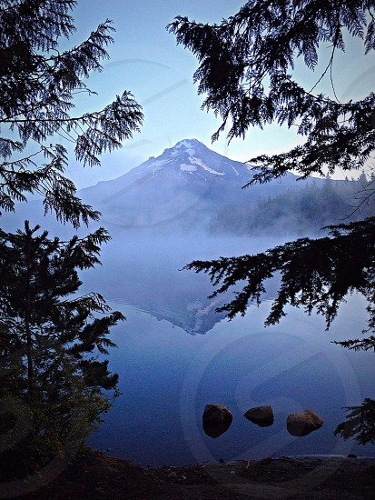 Trillium Lake Mt Hood Oregon.  Before the birds awake I see.  photo