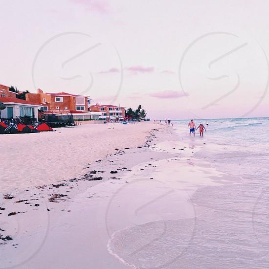 2 man walking near the sea shore photo