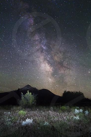 Milky Way landscape Mt. Shasta photo