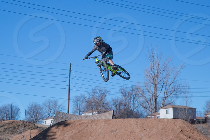 BMX bicycles riding at Ruby Hill Terrain Park in Denver Colorado photo