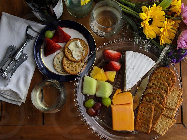 Snacks cheese crackers fruit photo