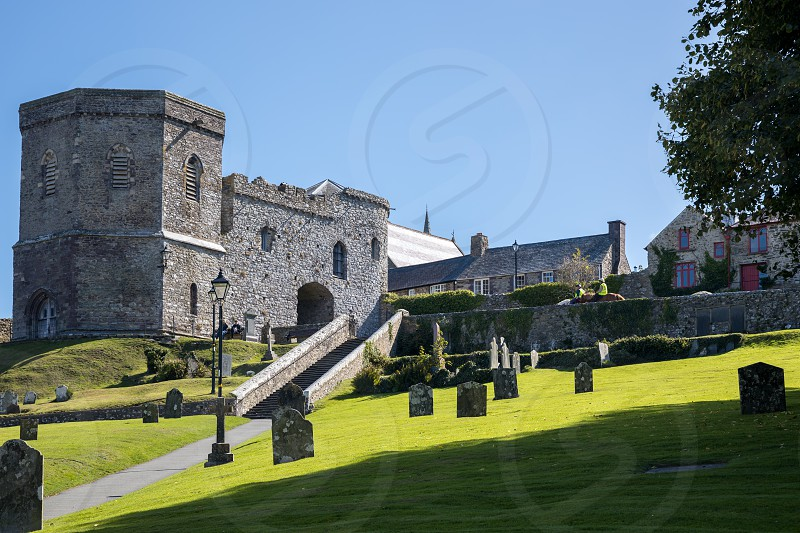 St DAVID'S PEMBROKESHIRE/UK - SEPTEMBER 13 : View of the Cathedral at St David's in Pembrokeshire on September13 2019. Four unidentied people photo