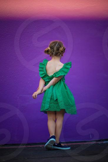 Girl green dress kid childhood purple photo