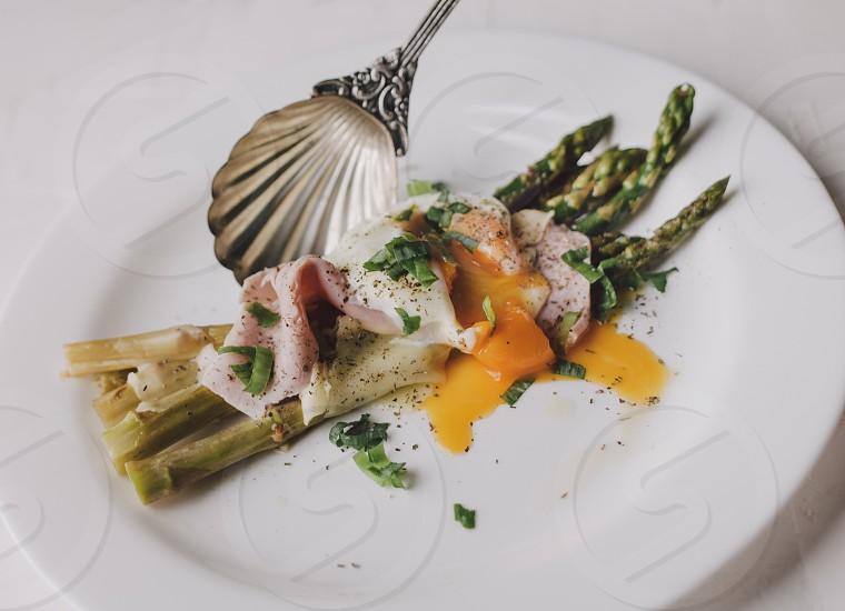 Food plate cuisine spoon dish eggs asparagus  photo