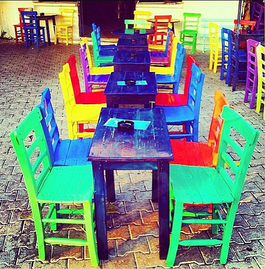 Colorful chairs ... Happy  photo