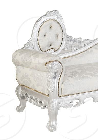 silver sofa over white photo