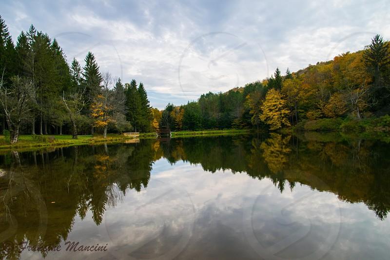 Fall autumn lake reflections  colorstrees photo
