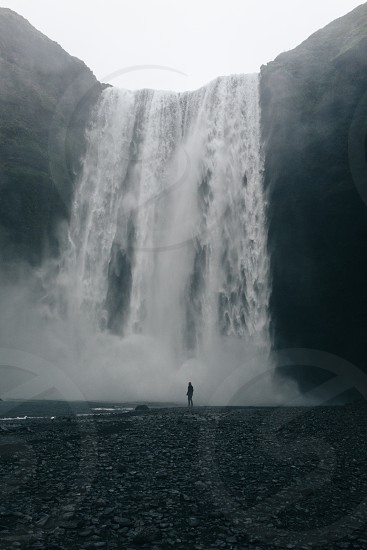 Waterfalls in the darkness. photo