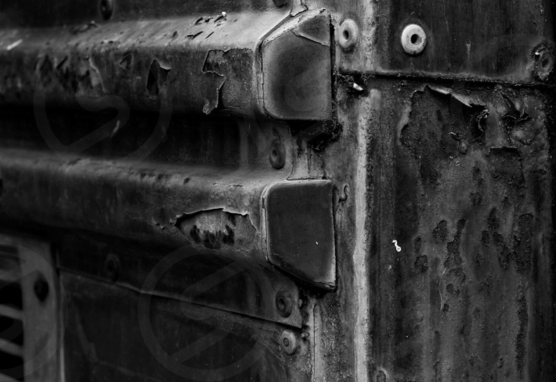 Abstract black and white old rusty metal photo