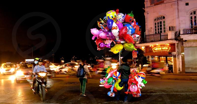 Balloon in the night photo