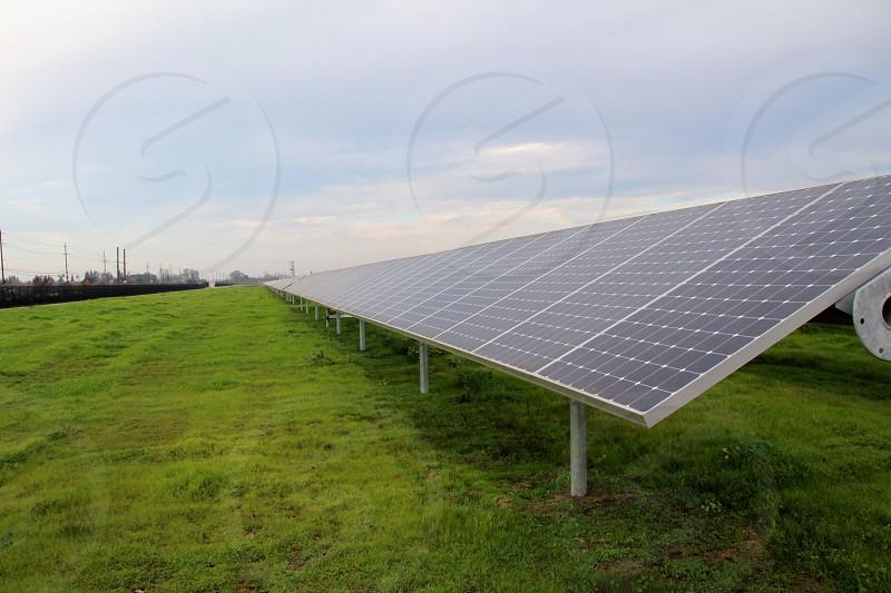 Solar panels in a field industrial scale solar power photo