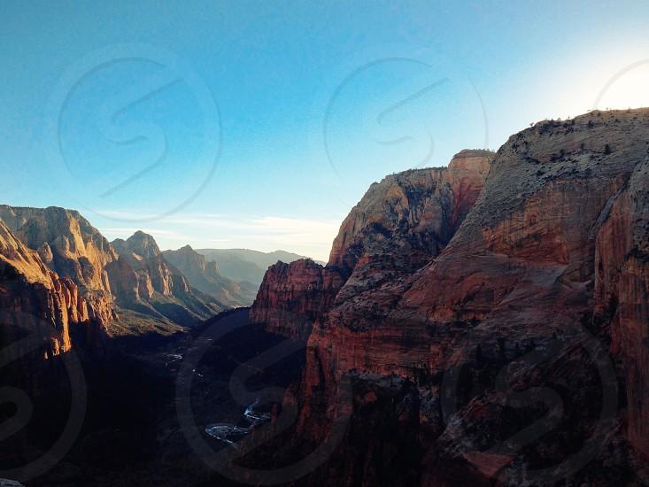 Zion sunset sunrise mountain valley fall photo