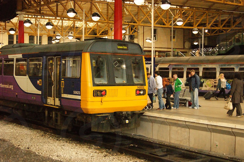 MANCHESTER VICTORIA. northern Rail Pacer 142032 has just arrived with a service from Huddersfield. photo